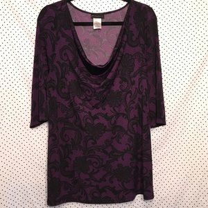 Floral Cowl Neck 3/4 Sleeve Stretch Top